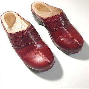 Women's Dansko Tef Leather Clogs w/ Cut Out Detail